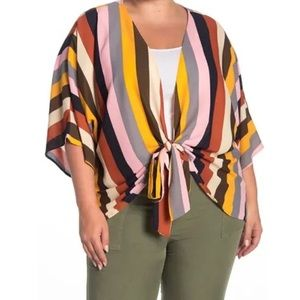 West Kei Vertical Rainbow Striped Tie Front Blouse